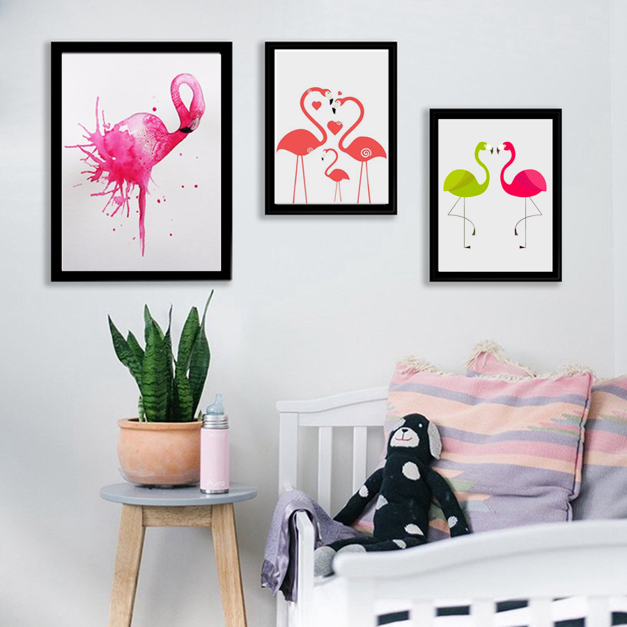 Respingo de Tinta HAOCHU Flamingo Cervos Animal Da Floresta Paisagem  Pintura Da Lona Retrato Da Arte Da Parede Poster Sala Decoração Nórdico 37225f459b