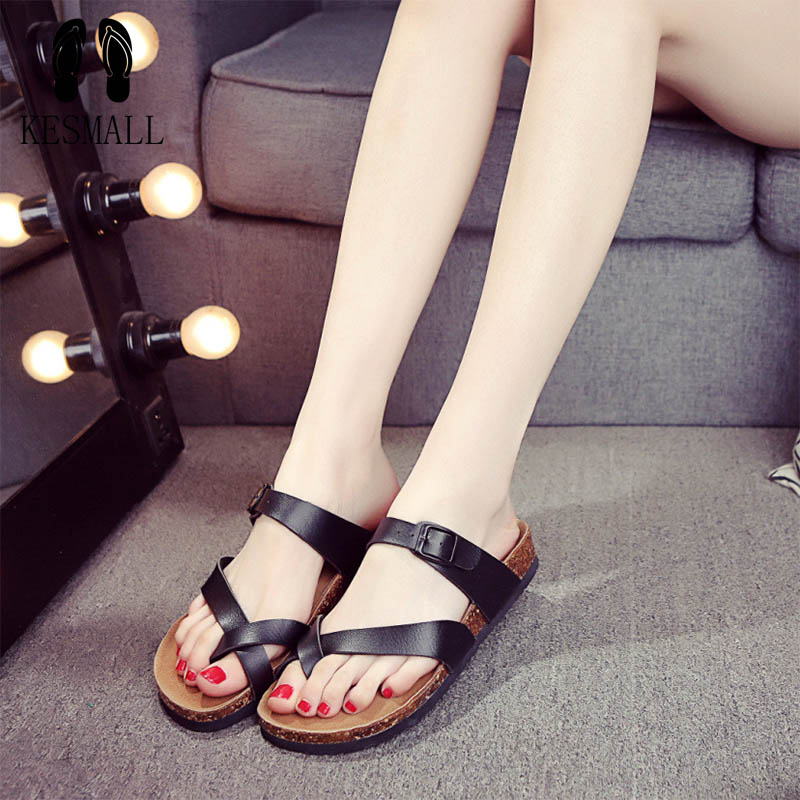 2017 New Summer Beach Cork Slipper Flip Flops Sandals Women Mixed Color Casual Slides Shoes Flat Free Shipping Plus Size WS32  2017 summer new women sandals slipper shoes fashion rhinestone thick high heel female slides snadals black plus size shoes xp35