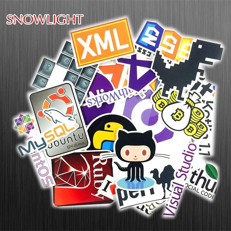 23 Pcs/lot Java Internet JS Php Docker Bitcoin Html Cloud Programming Language APP Logo  Stickers For Laptop Car DIY Stickers