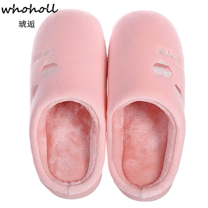Whoholl Indoor House Slipper Soft Plush Cotton Cute Slippers Shoes Non-Slip Floor Home Furry Slippers Women Shoes for Bedroom 45 whoholl winter home slipper man despicable me minions indoor slippers plush stuffed funny slippers flock cosplay house shoes