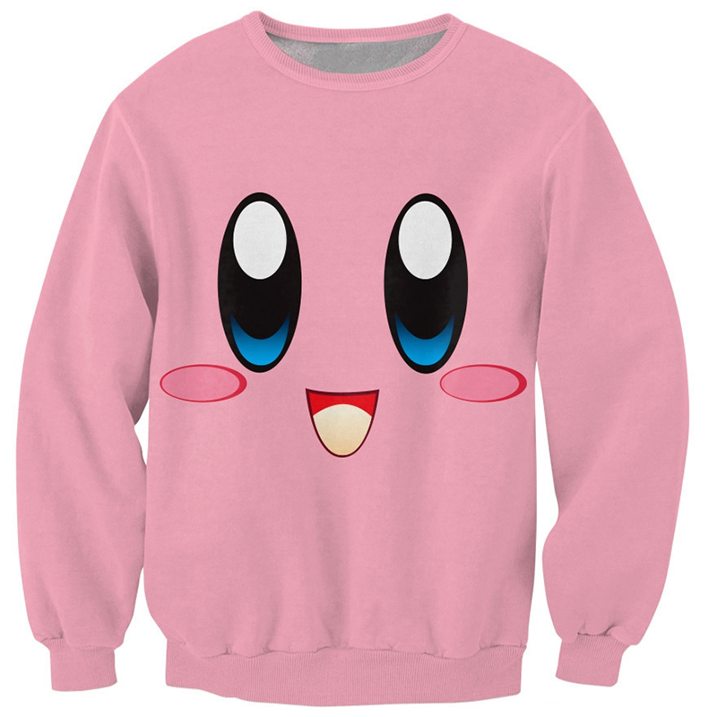 2018 3D Sweatshirts Men Jumper Kirby Face Crewneck Chubby Pink Character Sweats Men Cute Smlie Pullover Tracksuit