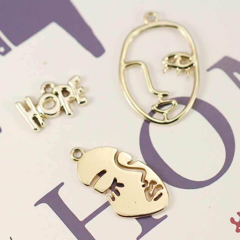 20PCS הולו סקסי נשים פנים צורת מקווה קסמי זהב כסף סגסוגת תליוני DIY תכשיטים בעבודת יד ממצאי עגיל אביזרים