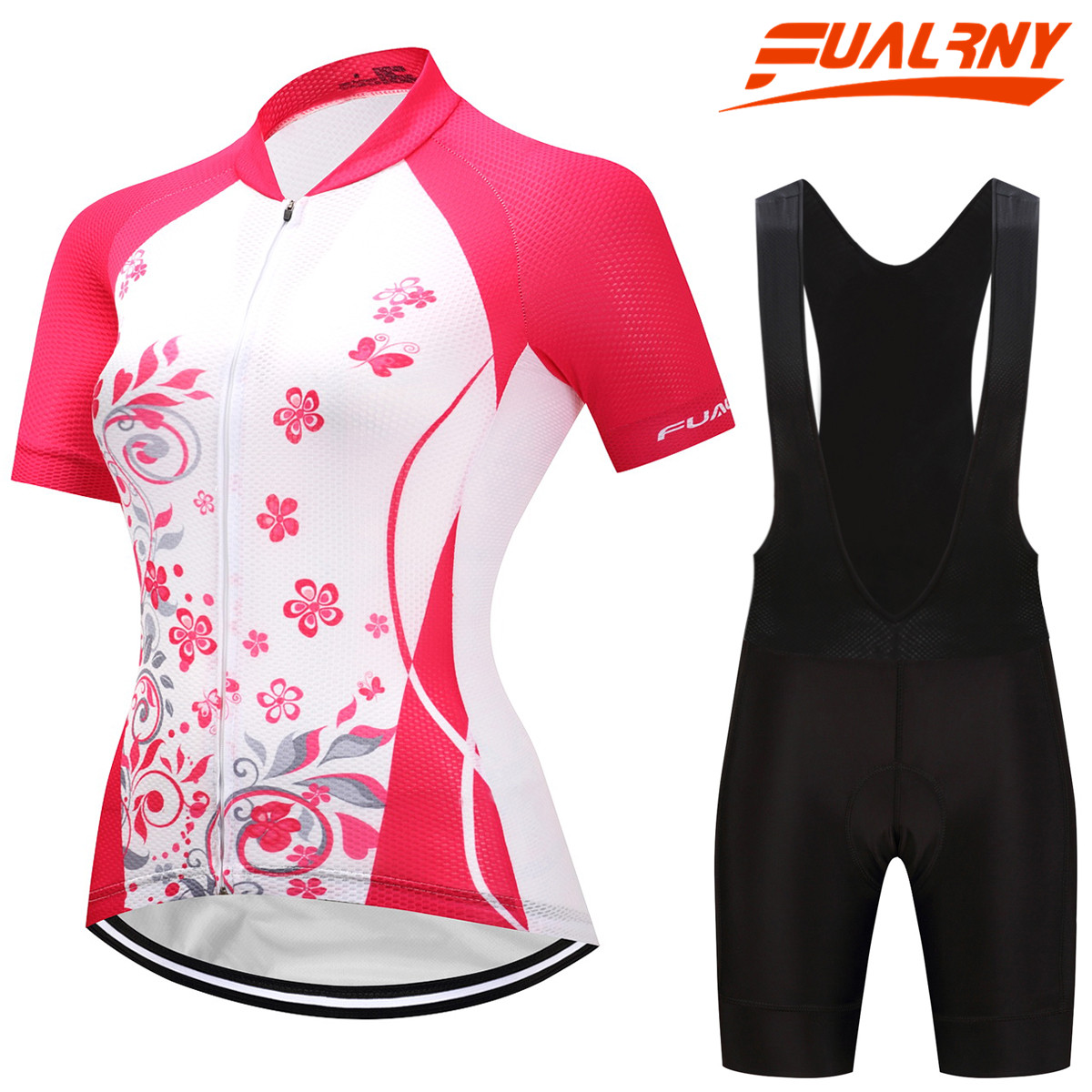 FUALRNY Women Bike Shirt 100% Polyester Breathable Bicycle Clothes Summer UV Cycling Jersey Set Short Sleeve Cycling Clothing