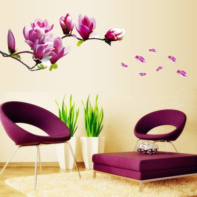 Aliexpress com   Buy Big Size Pink magnolia flower vinyl wall stickers home  decor rooms living sofa wallpaper Design wall art decals house decoration  from. Aliexpress com   Buy Big Size Pink magnolia flower vinyl wall