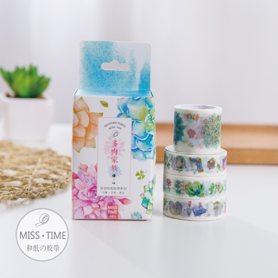 Family of Succulent Plants Washi Tape Decorative Adhesive Tape Diary Planner DIY Sticker Creative Gift Stationery 4 Roll/Bag gaurav kumar singh response of plants to cadmium toxicity