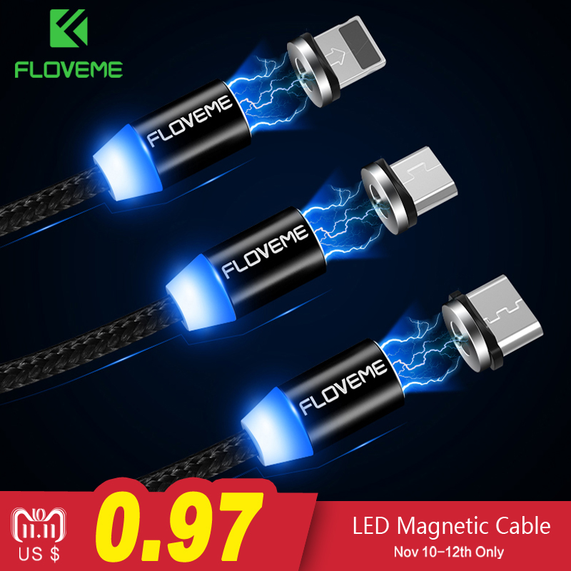 FLOVEME Magnetic Cable 1m Braided Mobile LED Type C Micro USB Magnet Charger Cable For Apple iPhone X 7 8 6 10 Xs Max XR Samsung чехол для samsung galaxy note 8 0 n5100 cellular line visiongnote8bk