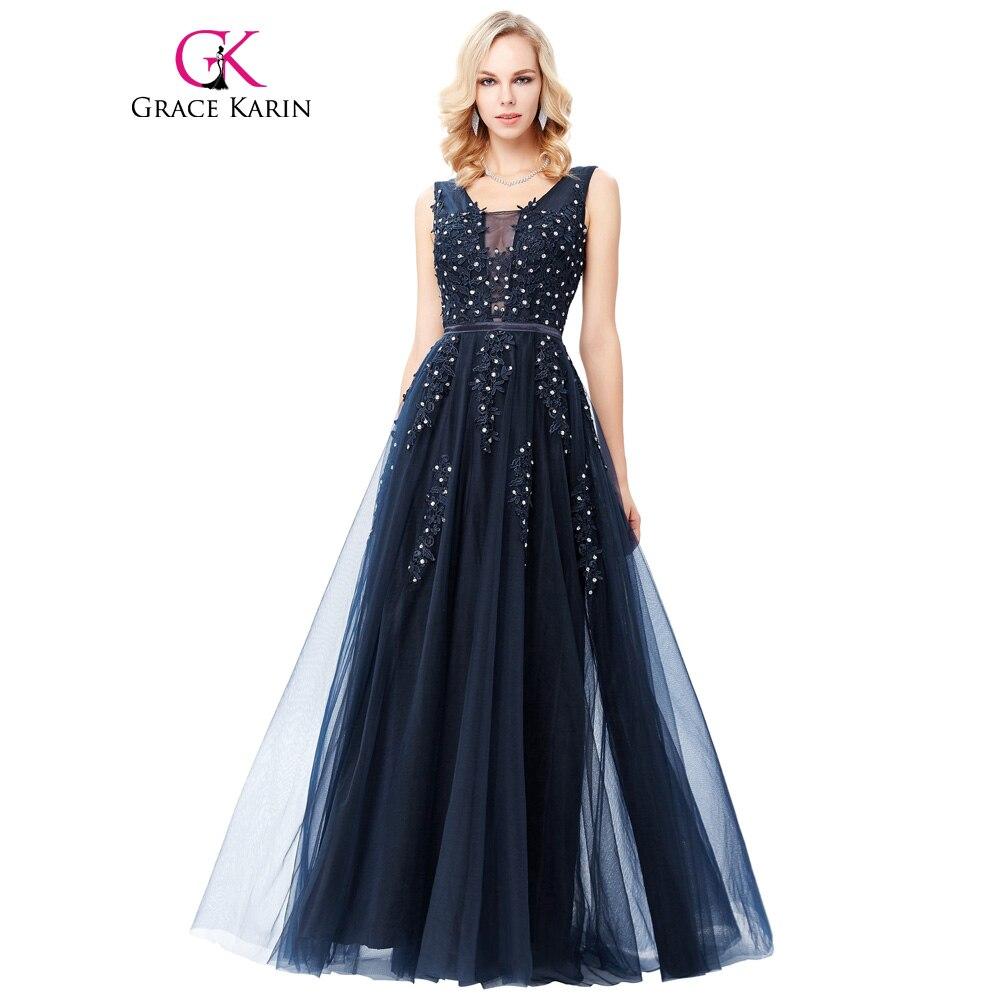 Grace Karin Tulle Appliques Celebrity   Prom     Dress   Sexy V Back Sleeveless Long Royal Blue Robes De Soiree 2017 Longue   Prom     Dresses