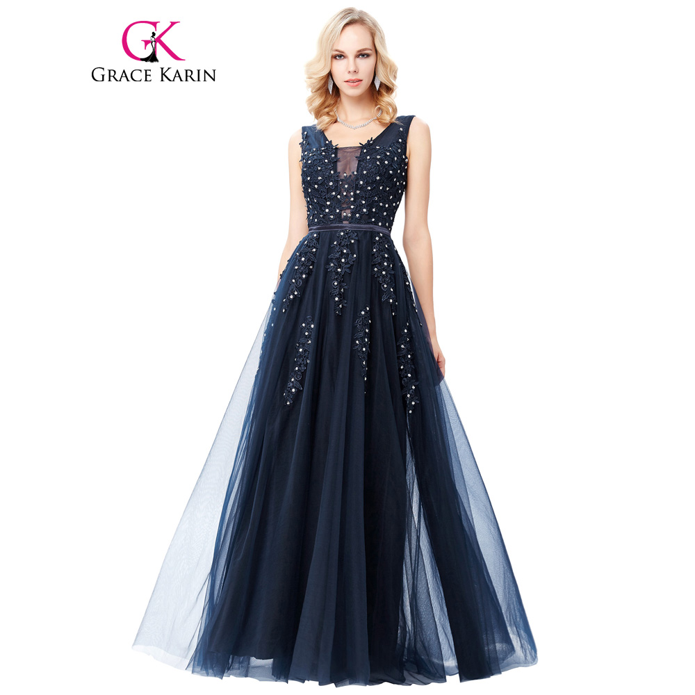 Grace karin tulle appliques celebrity prom dress sexy v volver Largo sin mangas