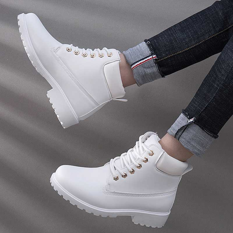 Image 4 - Designer Winter Ankle Snow Boots For Women Female Warm Fur White Boots Lace Up Bota Feminina Shoes For Women Botas Mujer-in Ankle Boots from Shoes