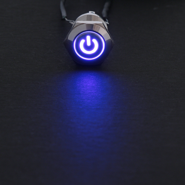 12mm 12 V LED de potencia momentáneo botón de Metal interruptor de encendido/apagado impermeable LED botón de encendido 1NO 1NC rojo azul