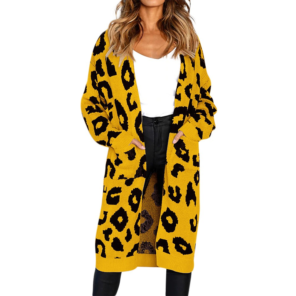 Fashion Women Knitted Print Long Sleeve Cardigan Sweater Coat como vestir con sueter mujer