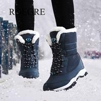 Женские ботинки на нескользящей подошве, непромокаемые зимние ботильоны, женская зимняя обувь на платформе с толстым мехом, botas mujer