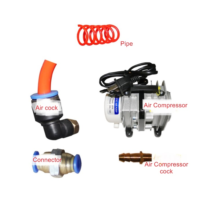 DIY CO2 laser engraving machine use antiflaming system kit anti flaming system kit with air pump air compressor and Pipe