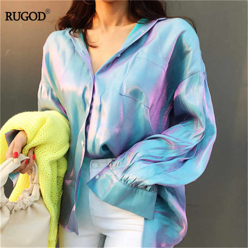 RUGOD 2019 spring solid turn-down collar change color blouse single breasted long sleeeve loose casual lady cotton