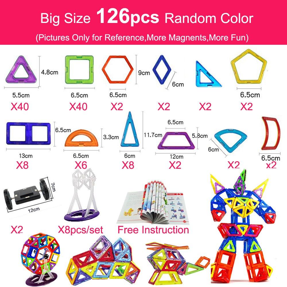 Manyetik yapı taşları 44-157 adet büyük boy manyetik tasarımcı inşaat ve bina oyuncaklar mıknatıslar oyuncaklar çocuklar için gifler