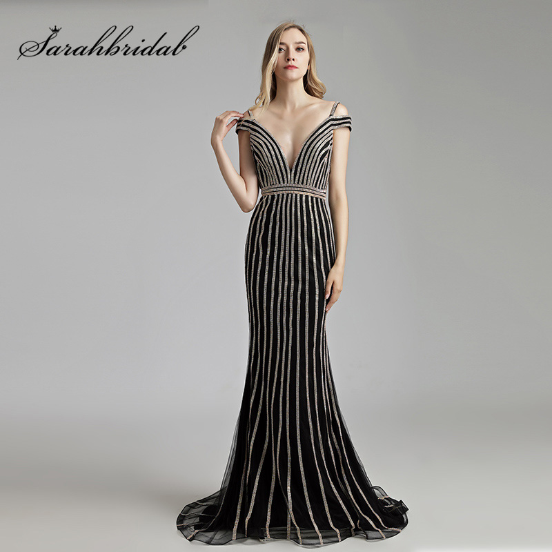 Newest Black Beading Mermaid   Evening     Dresses   with Cap Sleeve Tulle V-Neck Sexy Maxi Prom   Dress   Formal Women Party Gowns OL497