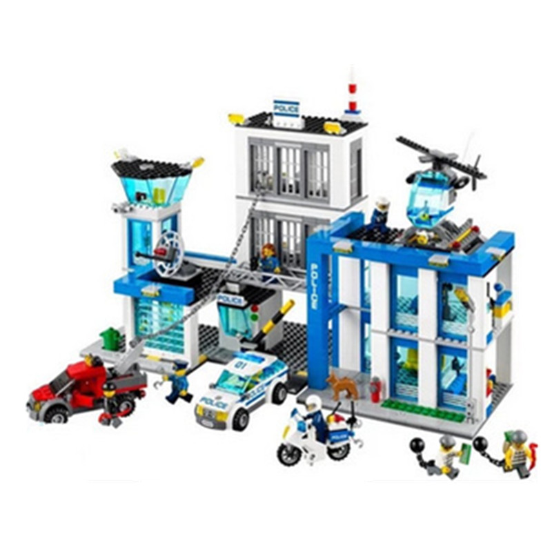 Police Station 60047 Building Blocks Model Educational Toys For Children BELA 10424 Compatible lepine City Bricks YHG018 compatible lepin city block police dog unit 60045 building bricks bela 10419 policeman toys for children 011