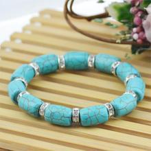 Nice Turquoise Charm Bracelet & Bangle Crystal Rhinestone Link Chain Women Accessories Jewelry Fashion Beads