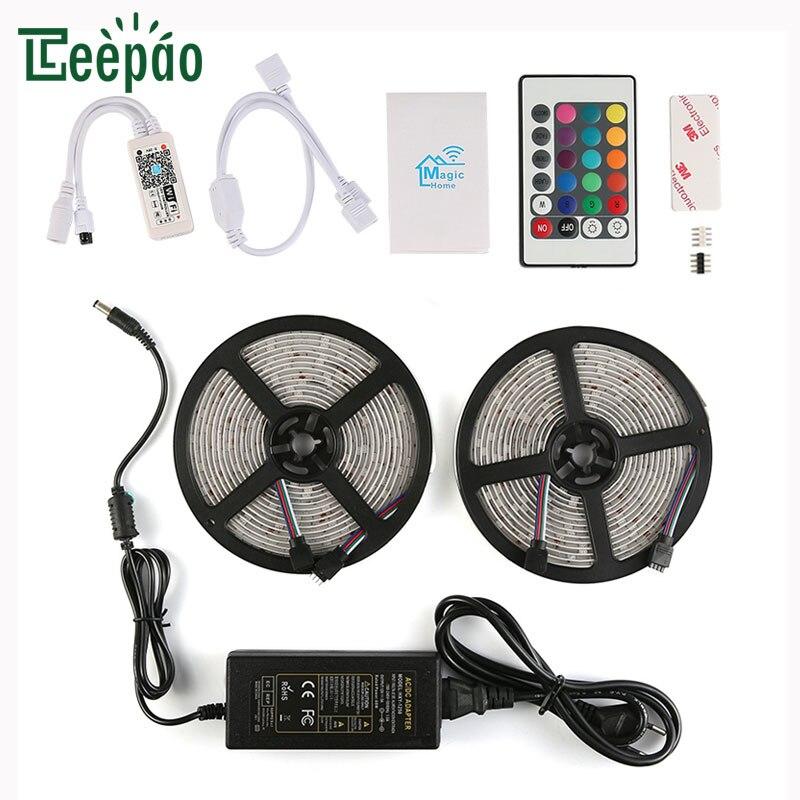 5M*2 Smart LED Strip Lamp 5050 RGB APP WiFi Voice Remote Control Light Tape Ribbon TV Background Lighting IP65 Ambient Led strip