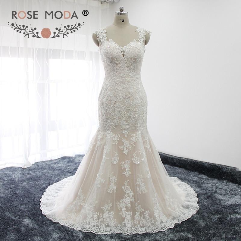 Rose Moda Cap Sleeves Deep Sweetheart Neck Ivory over Blush Lace Mermaid Wedding Dress Illusion Back