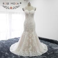 Rose Moda Cap Manches Profonde Chérie Cou Ivoire sur Blush Dentelle Sirène Robe De Mariée Illusion Retour Plus Size Robes De Mariée