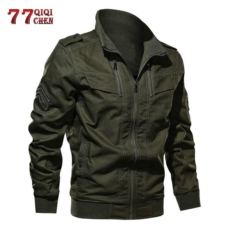 QIQICHEN Cargo Jacket Chaqueta Outwear Pilot-Coat Spring Military-Army Autumn Multi-Pocket