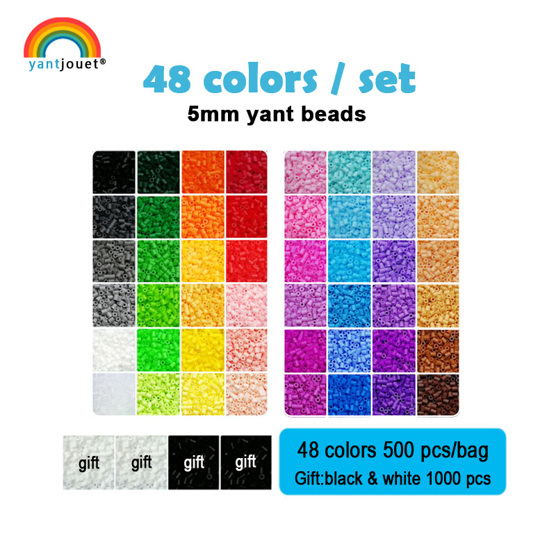 Yantjouet 5mm Yant Beads kit 48color/set OPP Bag Black White for Kid Hama Perler Bead Diy Puzzles High Quality Gift children Toy
