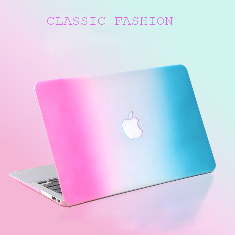 Fashion Matte Rainbow Hard Protector Case PC colorful protective shell Skin For Apple MacBook Air 11 Pro Retina 13 15 inch cases