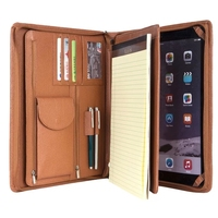 iLooker Brown AND BLACK Professional Portfolio Case for iPad Executive Genuine Leather Padfolio;Leather Made Notepad Holder