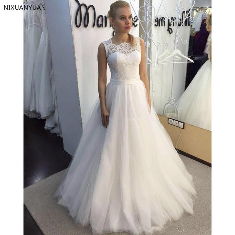 2019 New Lace O-Neck Lace Tulle Boho Cheap Wedding Dresses Summer Beach Bridal Gown Bohemian Wedding Gowns Robe De Mariage