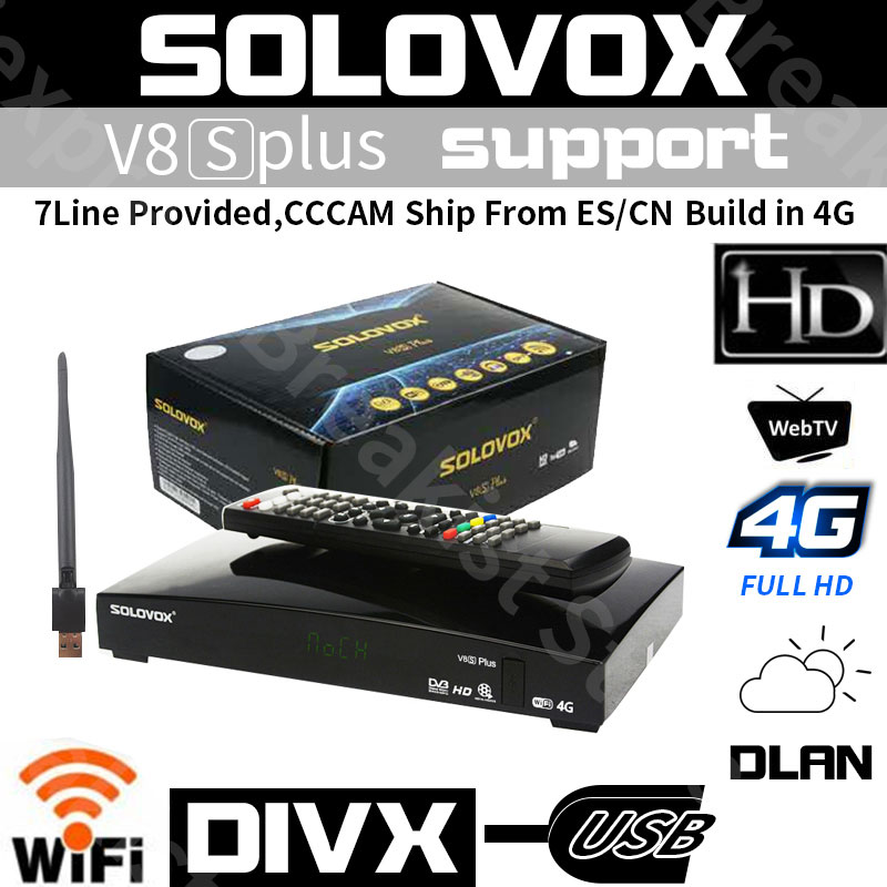 Satellite Receiver SOLOVOX V8S PLUS DVB S2 Digital HDMI support Youtube cccam NEWCAMD HDCAM Biss Key 2x USB Slot USB Wifi h96max