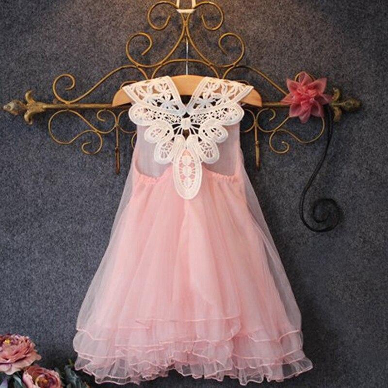 Nuevo  marca de moda rebordear sólido chica vestido del bebé muchachas de la pri