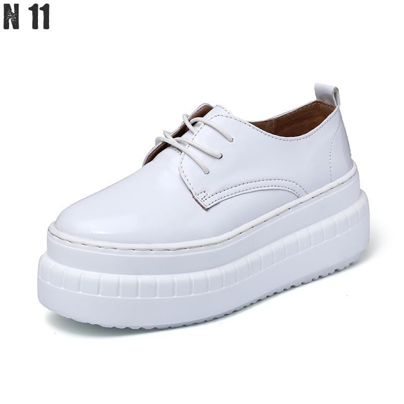 N11 Brand Women Platform Oxfords Brogue Flats Shoes Patent Leather Female Footwear Shoes For Women Creepers Women's Casual Shoes qmn women crystal embellished natural suede brogue shoes women square toe platform oxfords shoes woman genuine leather flats