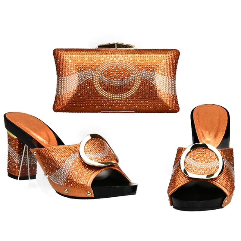 De Femmes 2018 Couleur Fête Ensemble Chaussures argent Et Sacs Assorties Pour Sac Noir or Africain Orange En Italien Africains jaune La Mariage orange xS4Fqx6