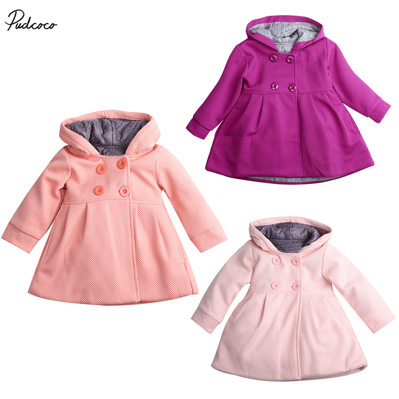 2017 New Baby Toddler Girl Autumn Winter Horn Button Hooded Pea Coat Outerwear Jacket christmas horn button hooded handkerchief coat