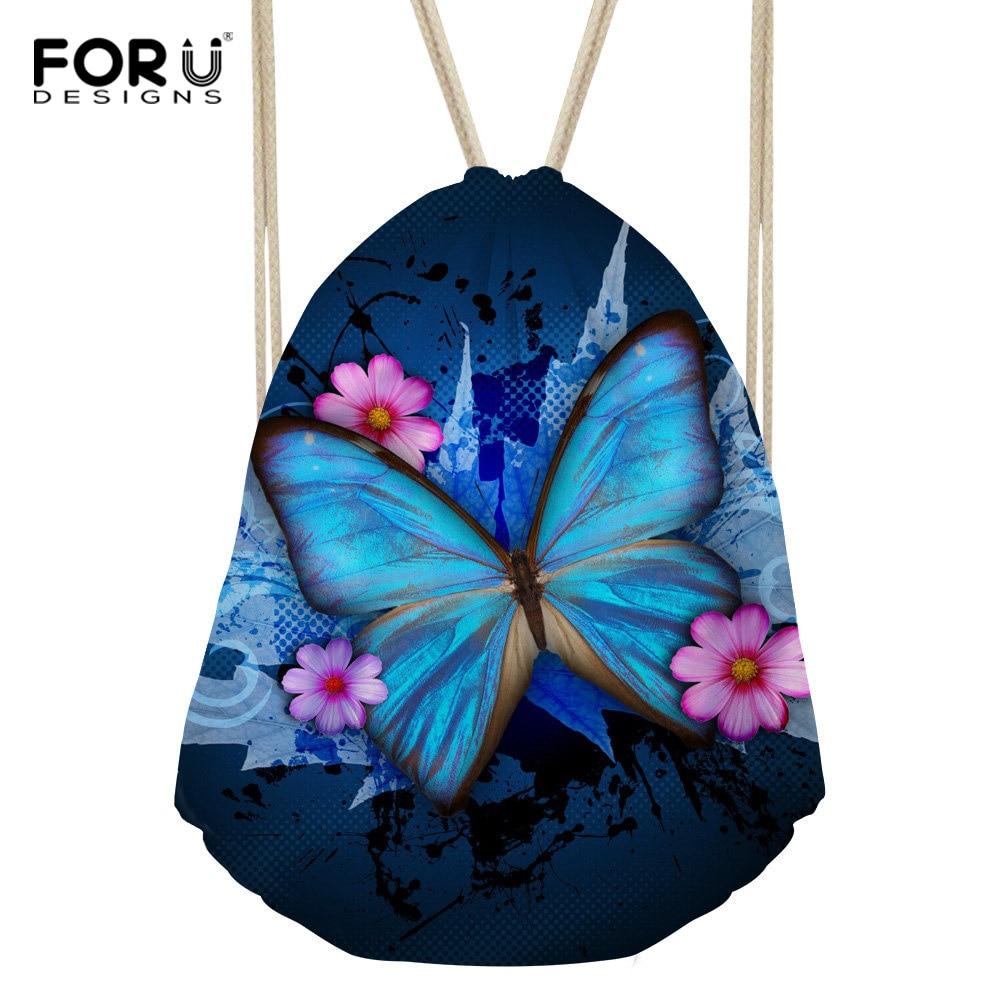 FORUDESIGNS Butterfly Pattern Personality Fashion Drawstring Bag School Backpack Women Mini Cute Travel Bag Girl bag Gift