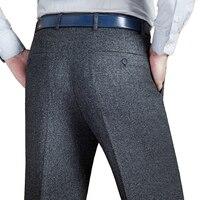 Mu Yuan Yang Men's Suit Pants Men Dress Pants Winter Thicken Woolen Trousers Straight Business Mans Formal Work Pants Men's Suit Pants