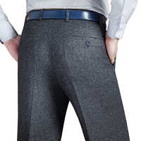 Mu Yuan Yang Men's Suit Pants Men Dress Pants Winter Thicken Woolen Trousers Straight Business Mans Formal Work Pants