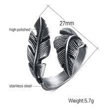цена на Punk Diameter Silver Tail Ring For Men Angel Wing Open Ring Fashion Feather Shaped Finger Jewelry C10