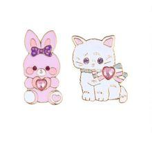 2017 Новый дизайн, романтичный, милый, маленький кролик и котенок, глазурь брошь, воротник, иглы, Леди бижутерии
