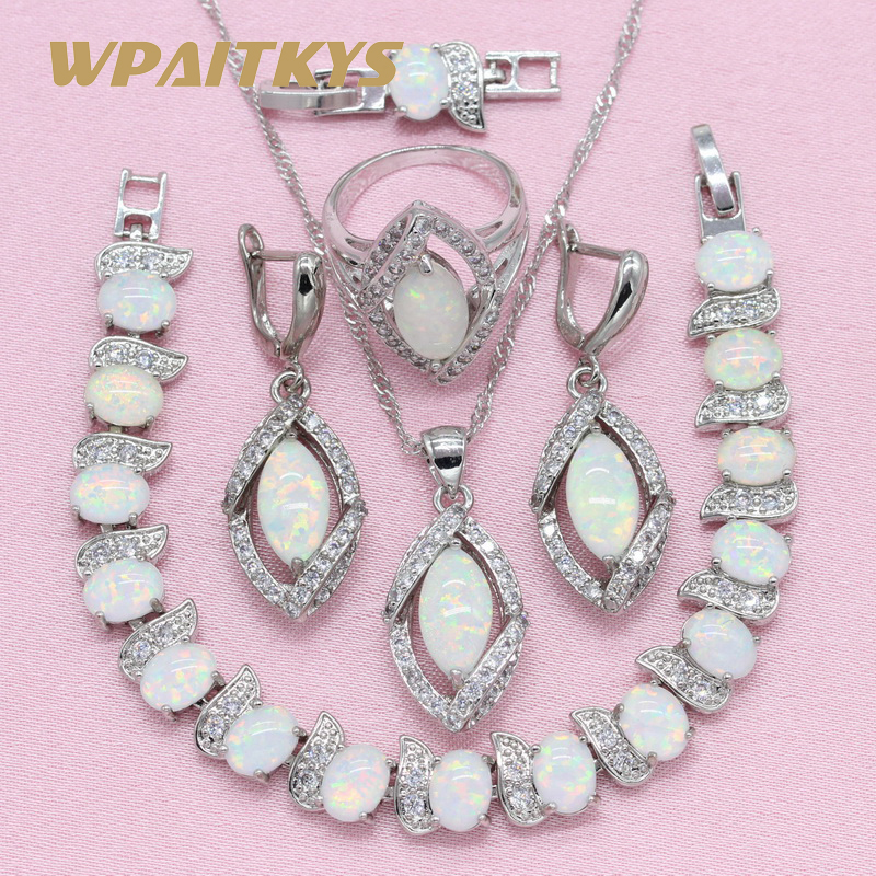 WPAITKYS Trendy White Opal Silver Color Jewelry Sets Women's Wedding <font><b>Necklace</b></font> <font><b>Earrings</b></font> <font><b>Ring</b></font> <font><b>Bracelet</b></font> Free Box image