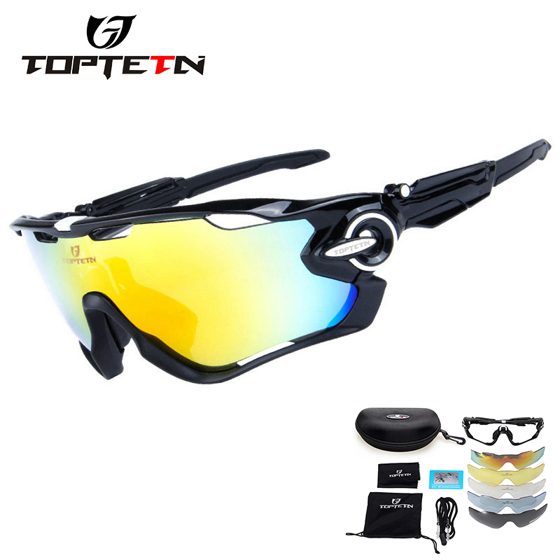 330f917ce60 TOPTETN 5 Lens Polarized Cycling Glasses Jaw Sport Cycling Sunglasses Men  UV400 Breaker MTB Cycling Eyewear Bike Bicycle Goggles