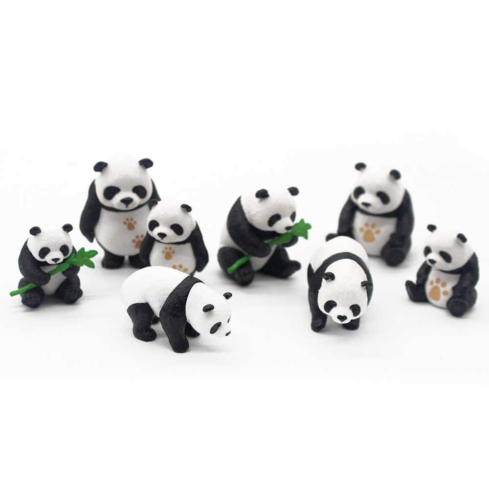 8pcs/set Cute Panda Moss Micro Landscape Terrarium Figurine Decoration Resin Funny Panda Babies Ornament Fairy Garden Miniature