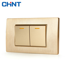 CHINT 118 Light Plate Switches NEW5D Wire Drawing Gold Block Steel Frame Two Position Two Gang Two Way two empresses