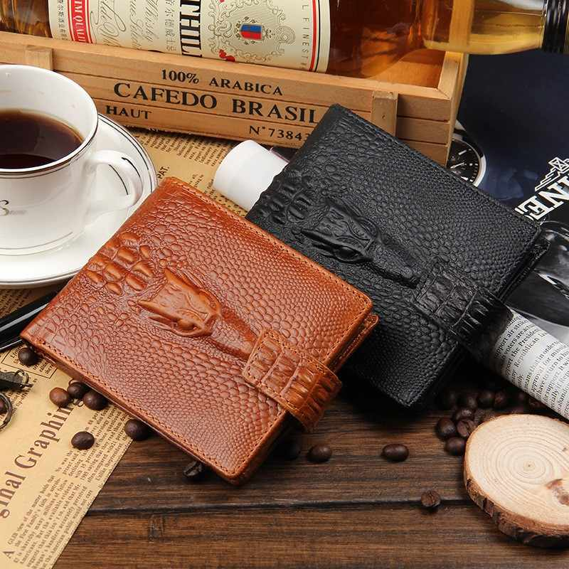 Billetera de cocodrilo pliegues monedero carteras de cuero de los hombres monedero de cocodrilo Hasp moda bolsas de bolsillo pequeñas 2018