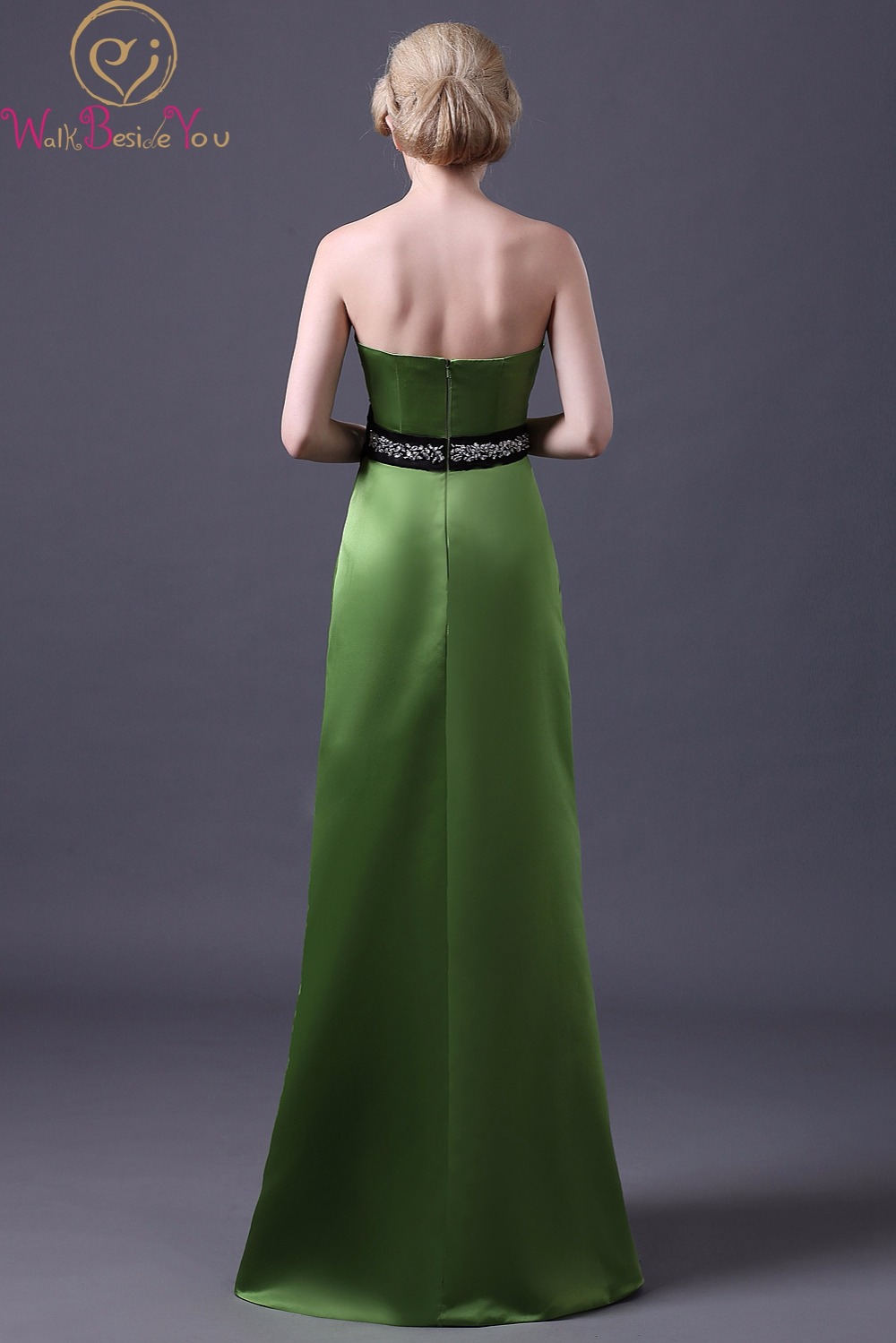 Walk Beside You Real Picture Green Bridesmaid Dresses with Black ...
