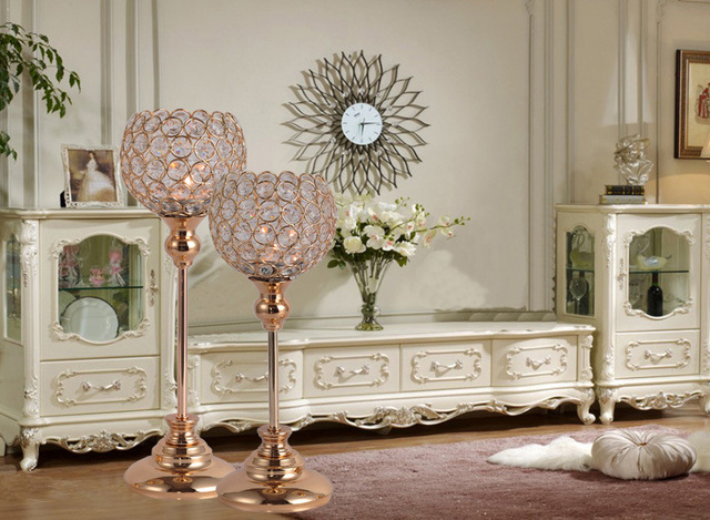 Home Decor Crystal Candle Holders Wedding Metal Candlestick Table  Centerpieces Candelabra Tea Light Candle Lantern