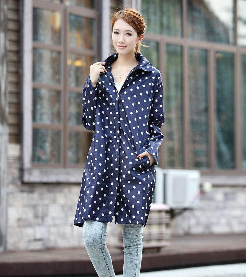 양질 방수 비옷 여성 도트 패션 긴 숙녀 비옷 포장 핸드백과 후드 지퍼 판초 코트 비옷