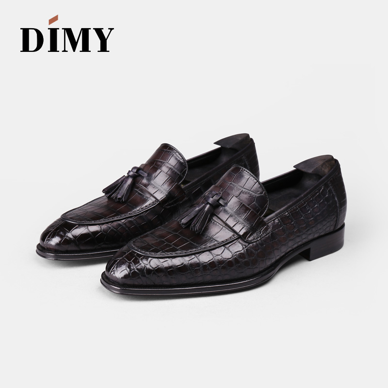 DIMY 2019 Goodyear Custom Hand-painted Crocodile Leather Men's Leather Dress Lok Fu Leather Shoes Business British Wind