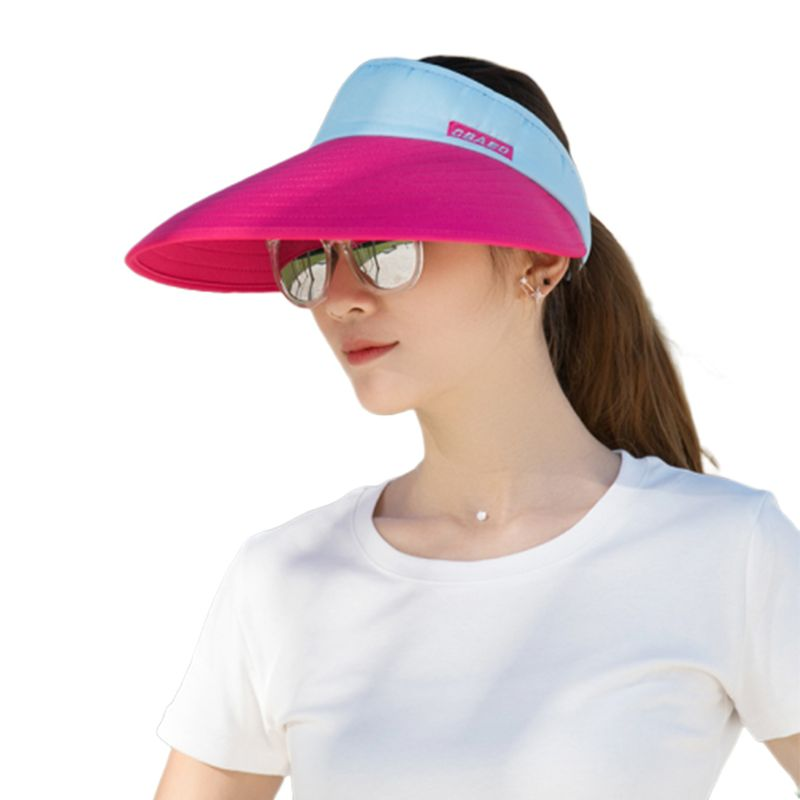Womens Summer Ultra-Large Wide Brim Color Block Sun Visor Hat Letters Printed Foldable Round Empty Top Cycling Beach Cap image